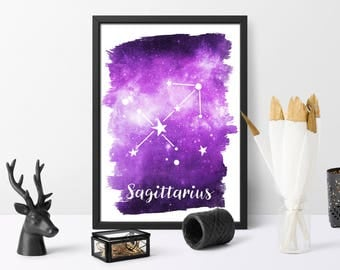 Sagittarius, printable, watercolour, zodiac print, gift for her, watercolour galaxy, astrology art, wall art, instant download,
