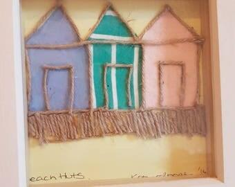 Cornish Beach hut mixed media picture in box frame