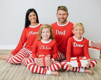 Embroidered Family Christmas Pajamas - Red Stripe Solid Top Pajamas - Matching Pajamas - Personalized Christmas PJs - Childrens PJs