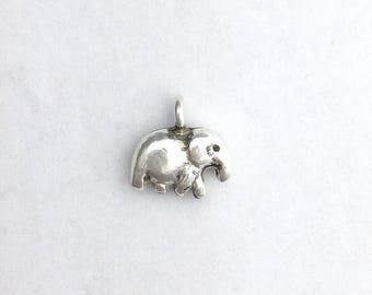 Thai Silver Little Elephant Charm Karen Hill Tribe Pendant Jewelry Making Supplies Beading Hand Worked Sundance Style Bohemian Findings