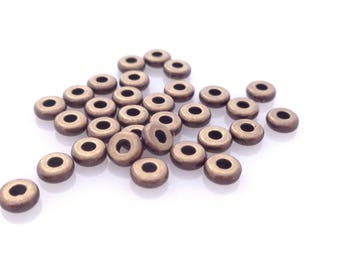 TierraCast Metal Heishi Beads 4mm Flat Washer Disk Spacer Antique Brass Oxidized - 50 pcs