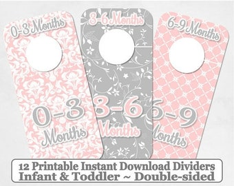 SALE Printable 12 Baby Girl Toddler Double-Sided Closet Dividers Light PInk Grey Shabby Damask Sizes NB-6 - DIY Instant Download - Nursery
