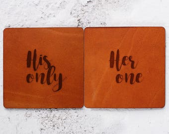 His only her one, Valentines gift ideas,Leather anniversary gifts, Valentines day 2018, Leather Coasters, Romantic gift Husband gift Leather