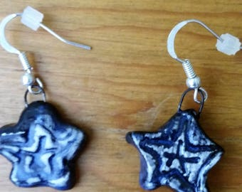 Blue Star Porcelain earrings on silver wires