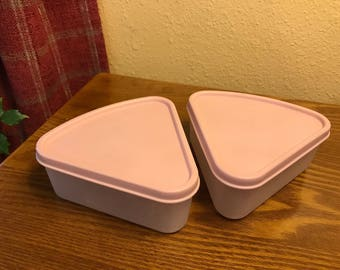 Vintage (Set of 2) Stackable Tupperware Pink Wedge/Pie Shaped Containers