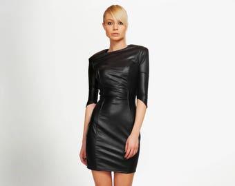 Leather Dress, BDSM, Latex Dress, Black Dress, Black Cocktail Dress, Bondage Dress, LBD, Gothic Dress, Black Bridesmaid, Sexy Dress