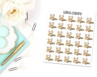 Grocery Bag Corgi Planner Stickers