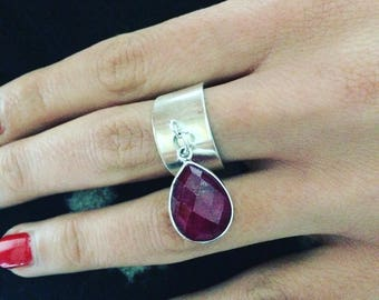 Elegant feminine gemstone and sterling silver Sterling Ring stylish sophistication designer jewelry