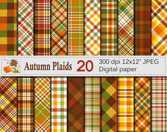 Autumn Plaid Digital Paper, Fall Plaid Patterns, Thanksgiving Plaid Printable Scrapbook Paper, Digital Download