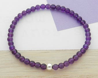 Amethyst stone and silver ball bracelet