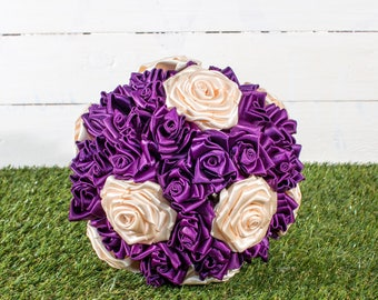 A Stunning Plum And Ivory Satin Ribbon Rose Bridal Bouquet