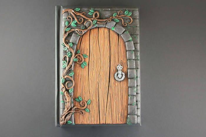 Secret door journal Fairy door Polymer clay journal Unique