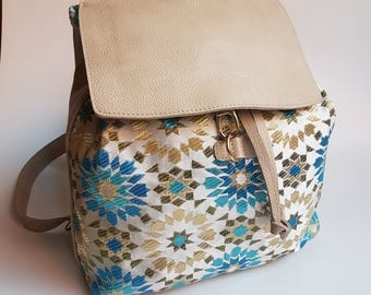 Original Beige Leather  Women Backpack, Leather backpack, Girls rucksack, Leather and embroidery fabric Backpack