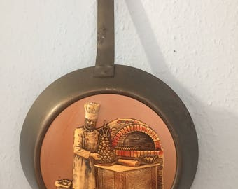 A Stunning Large Vintage Copper Decorative Frying Pan, Depicting A Baker, Made in France