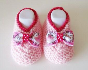 ballerinas in wool handmade - pink baby booties