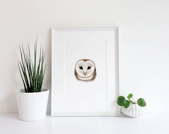 Barn owl | Digital illustration, print, homeware, kids room, playroom