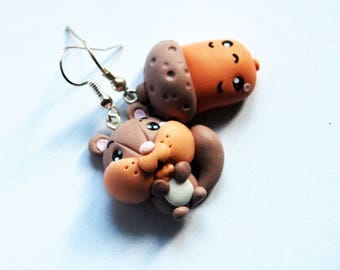Squirrel and Acorn earrings polymer clay-Kawaii Collection Autumn