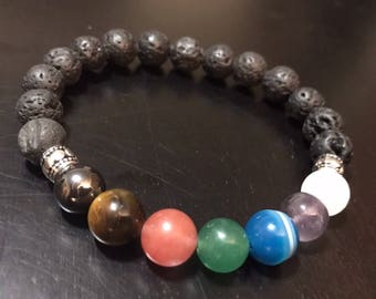 Men's Seven Chakra Bracelet with Lava Stones
