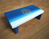 Blue meditation stool with sacred geometry - blue kneeling prayer stool - meditation bench - meditation aid - Seat with celtic knot