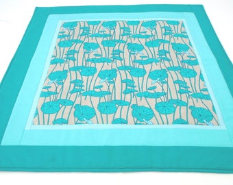 Lotus leaf altar cloth, shrine table cover meditation altar cover handmade quilted turquoise