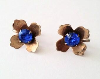 Mid Century 925 Silver Faux Sapphire Flower Screw Earrings