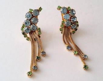 Gold tone blue and green rhinestone clip on dangle earrings