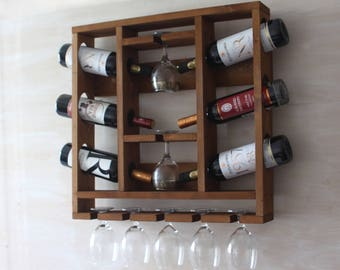 wooden wine rack hanging wine glass rack rustic wine rackwine decor