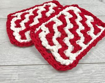 Crochet Potholders Pattern, Intermediate Pattern, Hot Pad Pattern, Crochet Pattern, Pattern, Home Decor, T-shirt Yarn, Valentines Day Gift