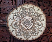 "8"" Wood Burned Mandala - Handmade Wall Hanging, Celtic Knot, Celtic Art"