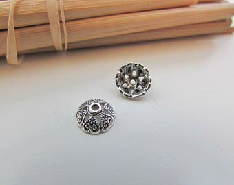10 Cup beads 8 mm antiqued silver - 1 mm hole - 434.34