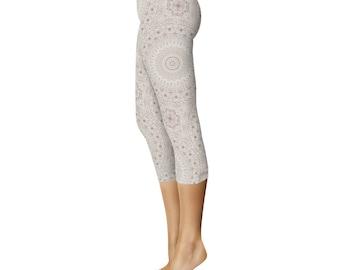Capris - Cream Printed Leggings, Off White Leggings, Boho Leggings, Stretchy Yoga Pants