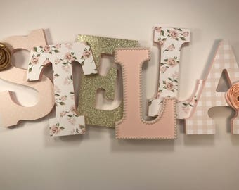 Pink and Gold Floral Nursery Letters
