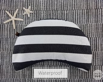 Zafu portable crescent Moon Amma Therapie waterproof   Yoga & Meditation Cushion   Buckwheat hulls   Stripes blanc and white