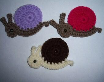 Details about  Crochet snail appliques,embellishment,scrapbooking,sewing set 4