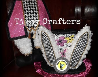 Pink, Floral, Houndstooth Mad Hatter - Easter Wreath Attachment- Spring Wreath Attachment