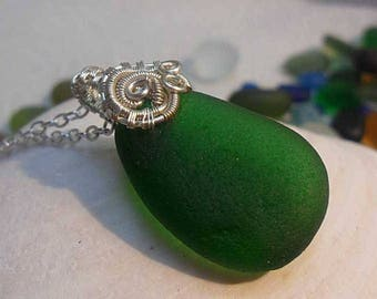 Perfect Green Sea Glass Necklace