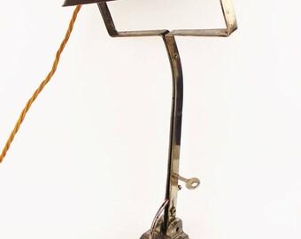 Antique 1920 Art Deco Bankers Desk Lamp Chrome Plated Table Lighting Bakelite
