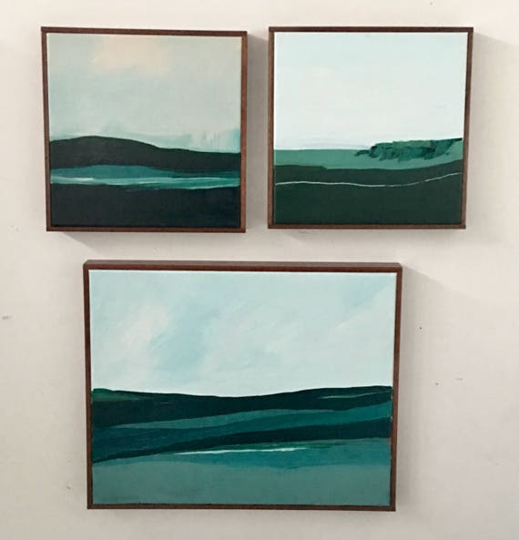 Modern Abstract Seascape Original Paintings (Set of 3)