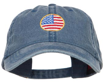 Circle American Flag Embroidered Washed Cap