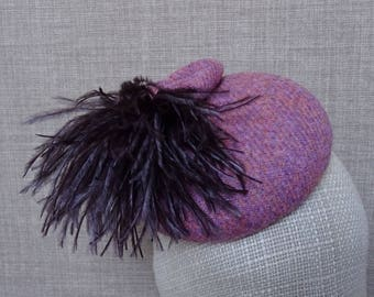 Pink Harris Tweed hat, wool pillbox hat, winter wedding, mother of the bride hat, beret style cocktail hat, ostrich feathers pompom - HT89