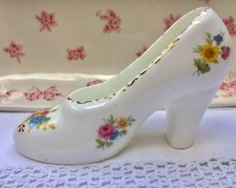 Darling Little Floral Vintage Fine Bone China Decorative Shoe Ornament