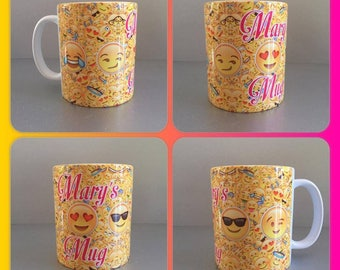 personalised mug cup emoji faces smiley winkey kissy smug sunglasses ios phone yellow
