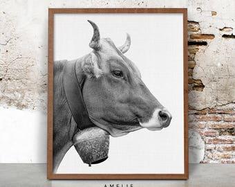 Cow Printable, Farmhouse Decor, Cow Wall Art, Farm Animal Photography, Black and White, Digital Download, Rustic Home Decor, Printable Cow