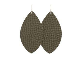 Cypress Green leather earrings