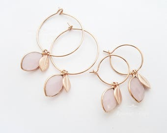 Rose Gold earrings | Hoop Earrings | Drop earrings | Gold, Silver Earrings | Round Circle Earrings | Bridesmaids | Rose Chalcedony Gemstone