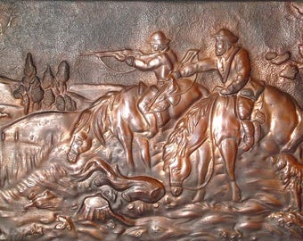 Copper art wall plaque Large metal wall art. Soviet Vintage Copper Chasing