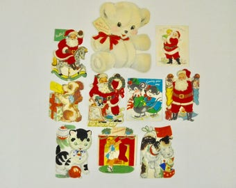 Lot of 10 Used Vintage 1940s & 1950s Christmas Holiday Baby Boy Girl Children Kids Greeting Cards Ephemera Crafting Framing Decor Ornaments
