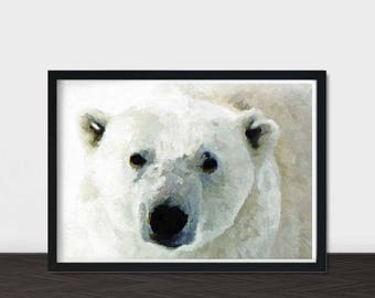 Polar Bear, Polar Bear Art, Polar Bear Print, Bear Nursery, Watercolour Print, White Decor, Nursery Decor, Instant Download Printable Art