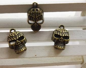 40PCS 21 mm*13mm  Metal Skull Charms - Sugar Skull Charms - Gothic skull Charms , Diy Findings supplies