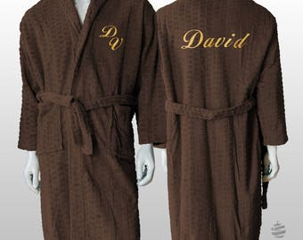 Personalized Jacquard Polar Robe Ref. Hive - Chocolate